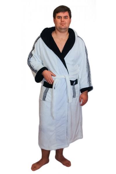 Халат мужской Funika & SN-Worop 1001 велсофт белый. ✪  Элитные мужские халаты ✪