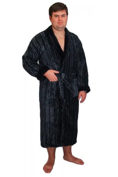 Халат мужской Funika & SN-Worop велюр серый ✪  Элитные мужские халаты ✪