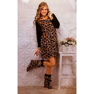 Халат женский Angels Леопард змейка с черными рукавами